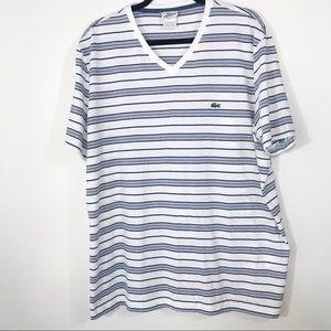 Lacoste V-Neck Striped T-Shirt Size 9 XXXL
